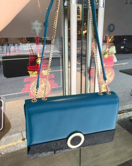 典精品 BVLGARI 寶格麗 Medium Flap Cover Bag 藍色 拼 黑色 下蓋 肩背包 斜背包 現貨