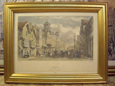 歐洲古物時尚雜貨 義大利 (法國) 老印刷畫 金邊框畫1840人群建築物馬車 老件 擺飾品 古董收藏