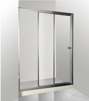 [勞倫斯衛浴-淋浴拉門]乾溼分離亮銀框一字三門清強玻 6000 型 連動門 (含丈量+施工)
