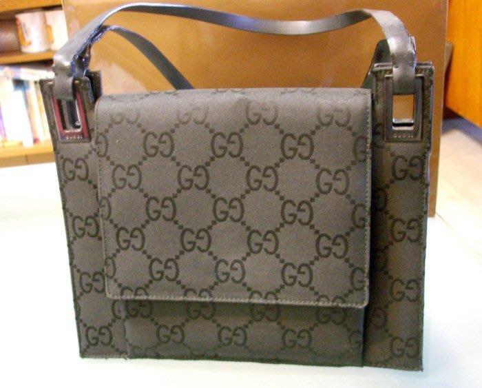 義大利Gucci 古馳 女性 雙G Logo 硬式固定型 2 way手提肩夾兩用包 絕版真品 24 x 20 x 7cm