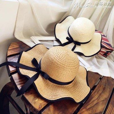 沙灘帽帽子女海邊夏天防曬太陽草帽出游大檐沙灘遮陽帽夏休閒百搭韓版潮