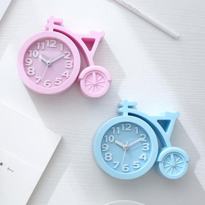 創意學生用兒童靜音鬧鐘女床頭電子時鐘簡約鐘可愛卡通小擺件鐘表