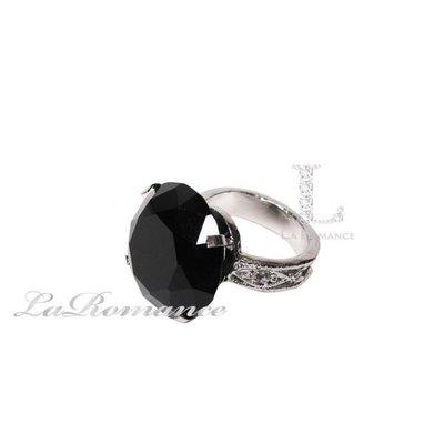 【芮洛蔓 La Romance】 3 cm 水晶鑽戒指造型餐巾環 - 黑色 / 情人節 / 求婚