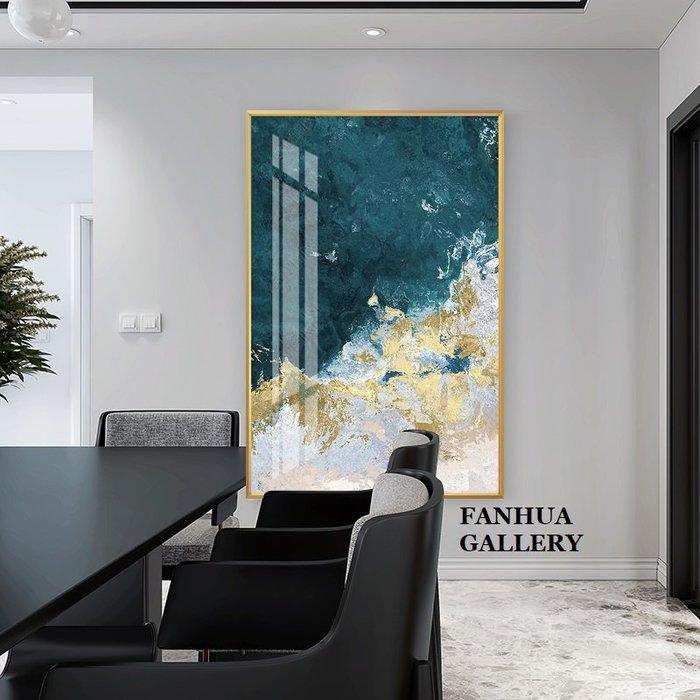 C - R - A - Z - Y - T - O - W - N 金箔藍白美式抽象裝飾畫客廳掛畫玄關走廊餐廳臥室巨幅藝術時尚抽象壁畫設計師款掛畫新居落成藝術畫