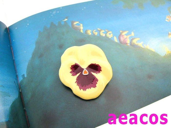 AEACOS@古董 古著 vintage retro MODs 標記 AVON 陶瓷製可愛花卉黃色三色堇別針胸針