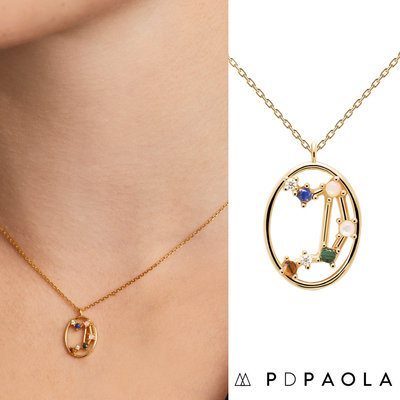 PD PAOLA 西班牙時尚潮牌 金色天秤座項鍊 彩鑽星座項鍊 925純銀鑲18K金