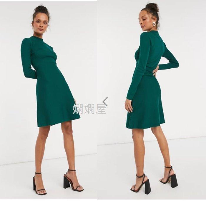 (嫻嫻屋) 英國ASOS-Girl In Mind時尚優雅綠色細針織高領傘狀裙洋裝 SJ20