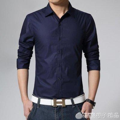 帥氣白襯衫男款西裝長袖襯衣服男土韓版修身潮流工作服西服白寸。