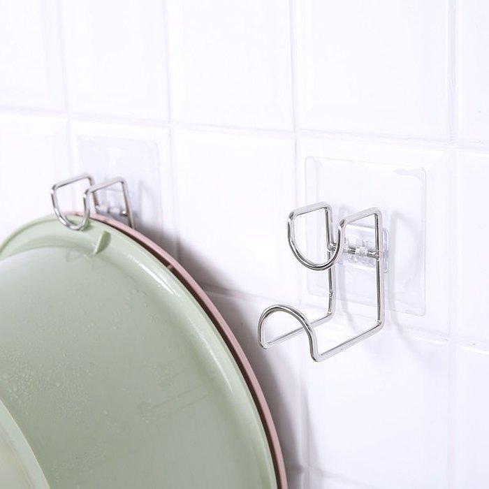 免打孔不銹鋼臉盆掛鉤 衛生間強力無痕粘鉤 浴室多功能收納臉盆架無痕掛鉤
