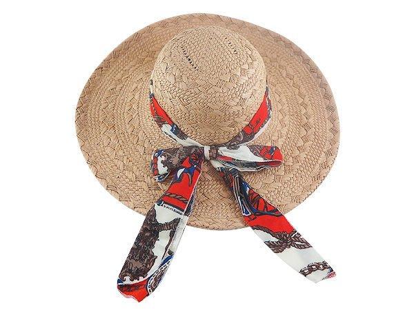 ☆二鹿帽飾☆ 頂級拉拉草大女圓型-花布雪沙鍊子 /(60cm)大海灘草帽-(熱銷第一名)