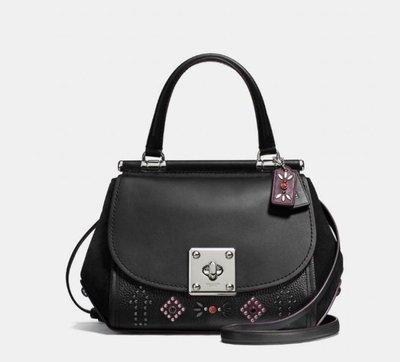 Coco小舖COACH 57659 Western Rivets Drifter top handle satchel黑
