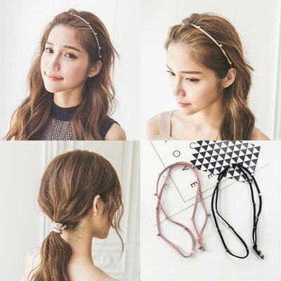 韓版手工釘珠珍珠髪帶日韓甜美扎頭髪皮筋頭繩髪圈髪繩髪飾品潮品