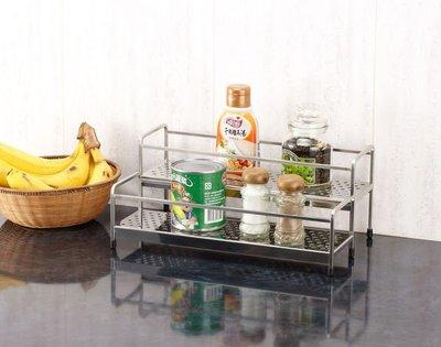 ☆成志金屬☆#304-RR浴室&廚房不鏽鋼梯型雙層置物架,調味料罐架,浴室瓶罐架