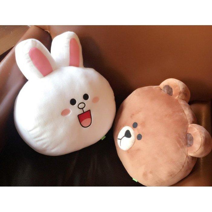 韓國line布朗熊可妮兔莎莉丘可沙發靠枕汽車靠墊腰枕可愛毛絨抱枕