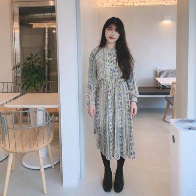 【ZEU'S】韓國秋裝復古款百摺碎花長洋裝『 11119915 』【現+預】K