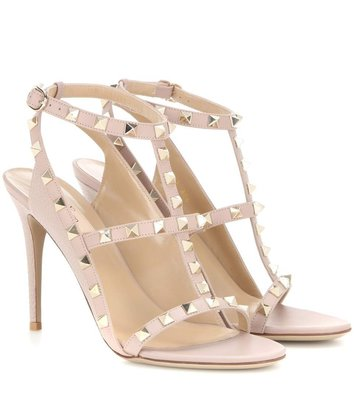 【chic_sisters】VALENTINO Rockstud 鉚釘 高跟涼鞋 10.5 mm  裸色 16新色