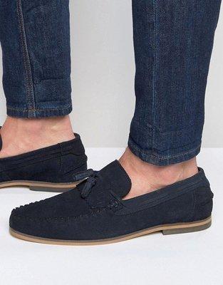 ◎美國代買◎ASOS麂皮流蘇裝飾鞋面海軍藍英國紳士麂皮流蘇帆船鞋~歐美街風~大尺碼