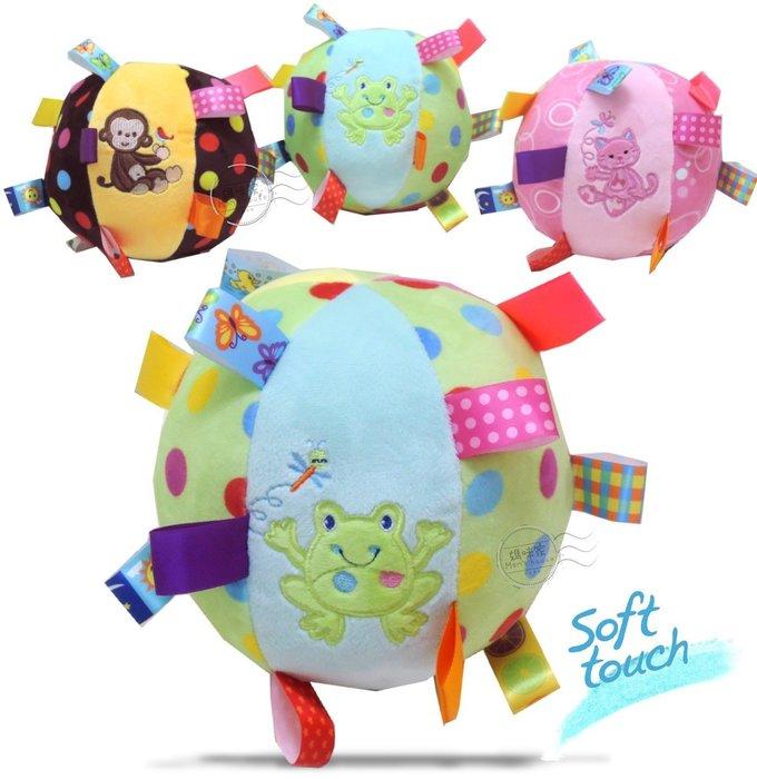 媽咪家【N030】N30標籤球 軟綿 可愛 動物 安撫球 抱抱球 鈴噹 玩偶 可掛嬰兒床 推車 刺激聽、視覺 新生兒必備