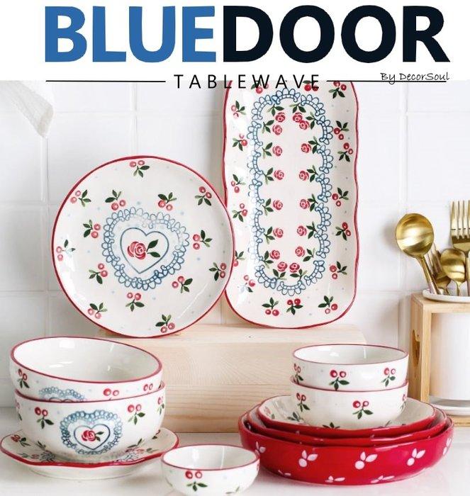 BlueD_森林櫻桃 套組 碗盤組 17件組 盤子 平盤 深盤 烤盤 飯碗 魚盤 家庭套組日式北歐設計裝潢 新居入遷禮物