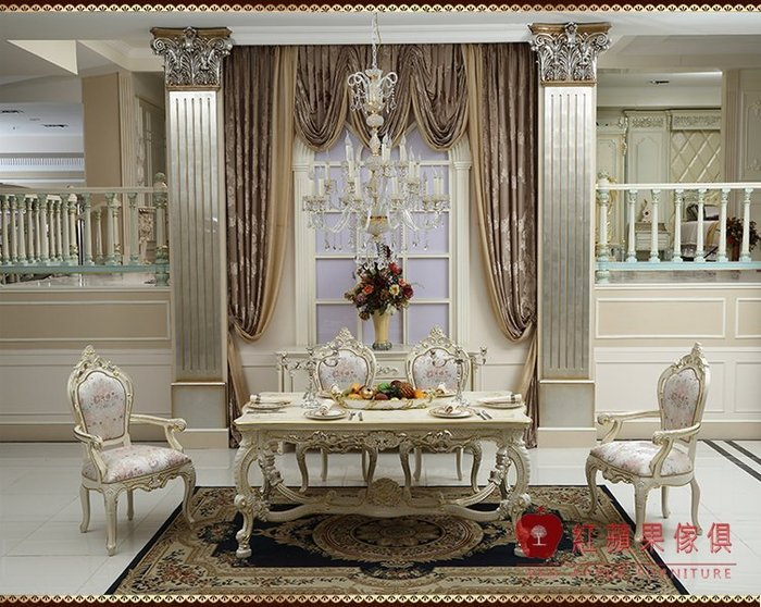[紅蘋果傢俱] F134L-1宮廷凡爾賽系列 頂級進口 歐式 法式 金箔雕花 長餐桌 新古典餐桌 餐桌椅組