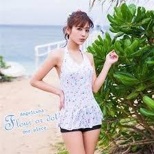 Angel Luna日本泳裝-小花綁帶假兩件式傘狀裙一件式泳裝_AL72631