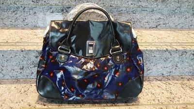Sonia Rykiel 經典蝴蝶結釦大型紫藍星空漆皮包 附大型紙袋