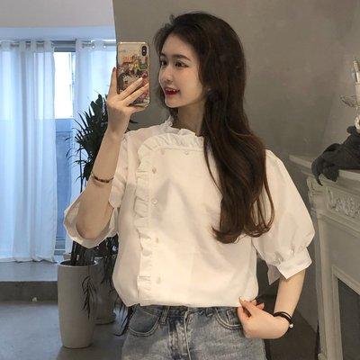 小香風 短袖T恤 時尚穿搭 白色襯衫女設計感小眾復古港味上衣款襯衣鹽系仙女ins風