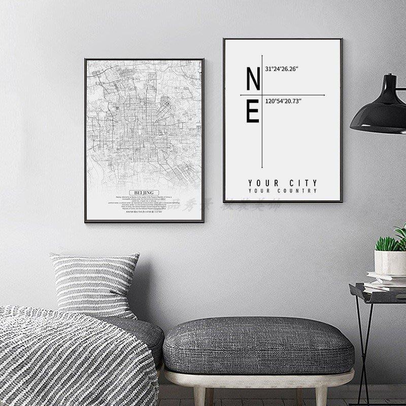 現代簡約城市地圖幾何黑白線條坐標裝飾畫畫芯微噴打印掛畫