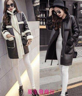 【易生發商行】LOSPUE/洛純冬季韓版女裝鹿皮絨羊羔毛拼接中長款棉衣外套大衣F6361