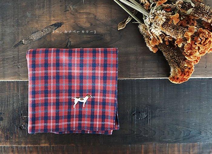 MH選物室 京都 【ハンカチベーカリー】日本製 45 綿質 格紋 立體 電繡 狗狗 手巾 汗巾 手帕