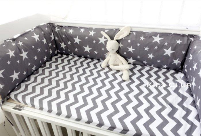 【Kids Club】北歐風格高雅氣質寶寶嬰兒床品純棉簡約個性深灰五角星星閃電印花特製訂製床圍+床罩-兩件組