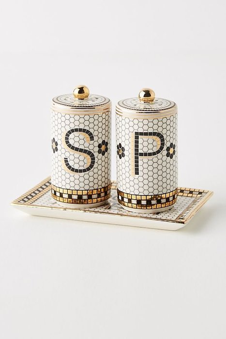 美國鄉村Anthropologie 法國小酒館瓷磚鹽和胡椒罐Bistro Tile Salt & Pepper Shak