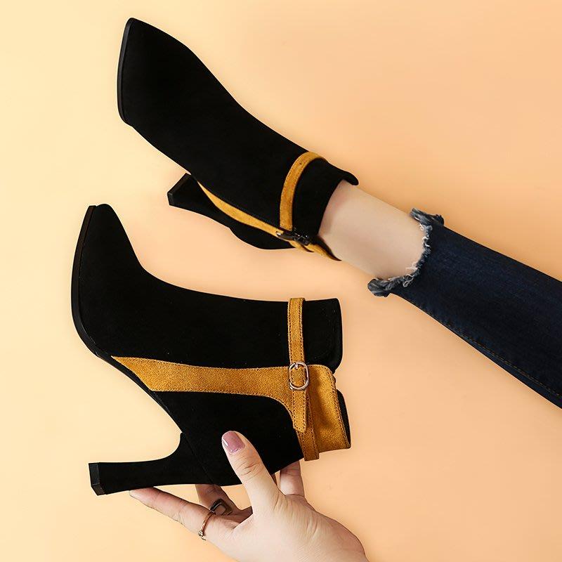 短靴 裸靴女靴子秋新款短靴粗跟高跟鞋尖頭裸靴韓版百搭絨面馬丁靴冬季