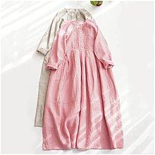 Joyce‧W~*【D2122315】☆☆預購。日系。森系文藝簡約純亞麻寬鬆大碼長款大擺連身裙。2色