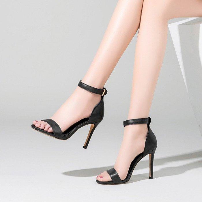 真皮涼鞋  牛皮 高跟細跟 腳環扣帶簡約 WN9240155