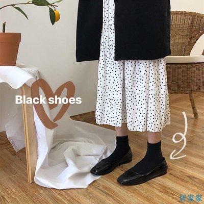 居家家  秋季新款韓版淺口單鞋百搭軟底方頭女鞋一腳蹬平底奶奶鞋果凍鞋