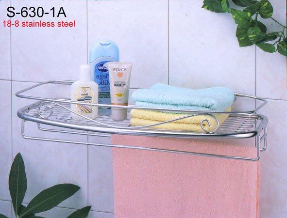 ☆成志金屬☆ s-630-1a 不銹鋼浴室--單層--置物架附毛巾架