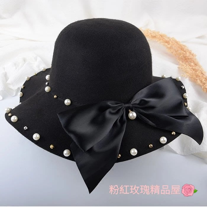粉紅玫瑰精品屋~韓版大小珍珠毛呢大蝴蝶結小香風漁夫帽~