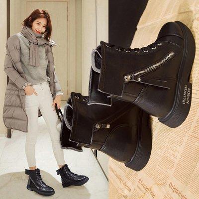 運動鞋 休閒鞋秋冬新款韓版百搭休閑鞋復古黑色拉鏈高幫鞋時尚系帶學生女鞋