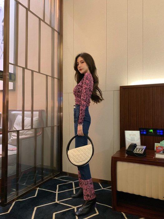 [PK服飾]2003背心裙連身裙T恤短褲襯衫玫瑰印花個性拼接直筒牛仔褲女184