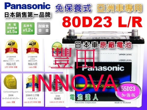 【鋐瑞電池】國際牌 (80D23L) TOYOTA 豐田 INNOVA 75D23L 可 到府安裝 外出安裝 汽車電瓶