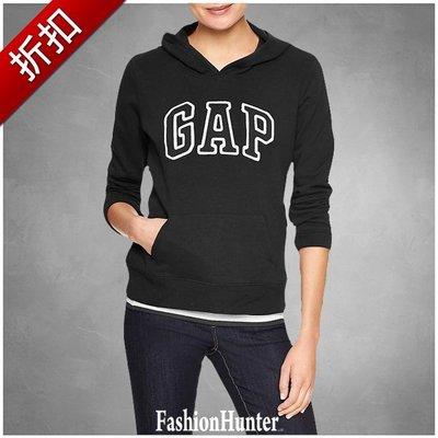 折扣【FH.cc】 GAP 女鋪棉連帽T恤 Arch Logo Hoodie 黑 高質感立體縫布Logo非平面印刷膠布款