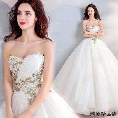 輕奢金色刺繡 優雅抹胸新娘婚紗禮服新款