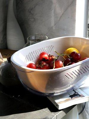 創意塑料雙層瀝水籃家用果籃淘米籃餐具瀝水籃洗菜籃廚房工具