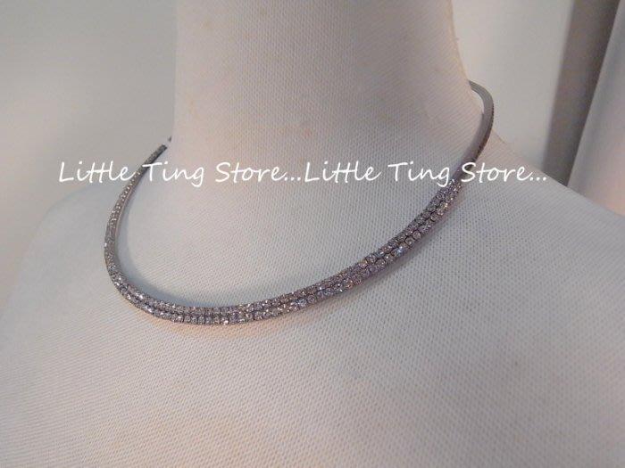 Little Ting Store: 婚禮宴會適用配件 新娘秘書鎖骨鍊 古銅灰雙排鑽圈鍊爪鑽寶石星光閃亮項鍊