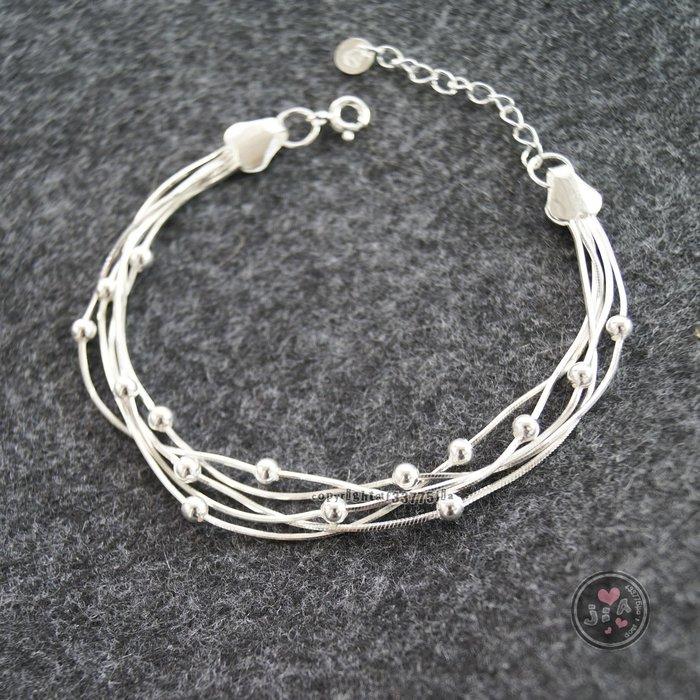 【Jia' s】多層次光珠純銀手鍊蛇鍊足銀990。正生純銀