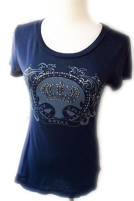 *Beauty*JUICY COUTURE 藍色水鑽短袖棉T恤XS號 2800元 GR