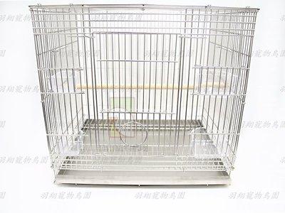 一尺半白鐵鳥籠+木棍+壓克力牡丹、九官杯+不鏽鋼便盤/羽翔寵物鳥園