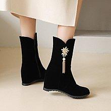2020秋冬新款韓版 馬丁靴 女百搭短靴內增高中筒靴水鉆加絨中跟女靴