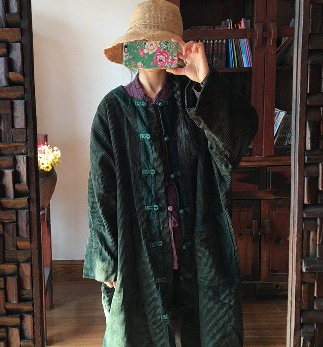 【子芸芳】原創中式盤扣對襟水洗燈芯絨撞色大袍有內襯
